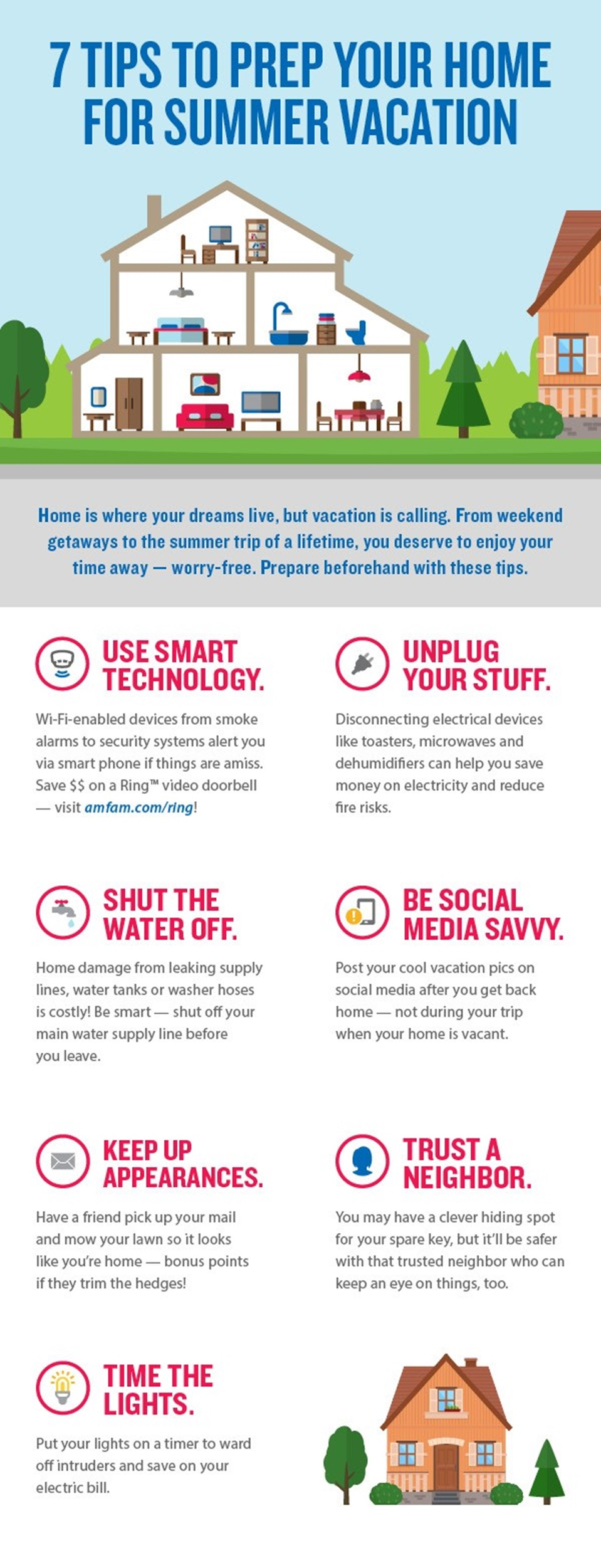 Infographic showing seven tips to prep your home for a summer vacation