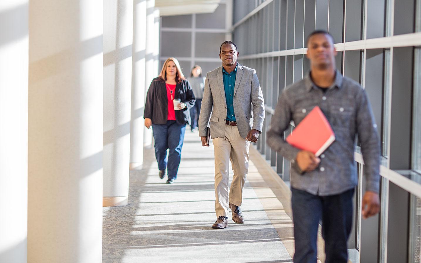 Employees walking