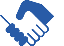 Image of handshake as gesture of trust in blue and white