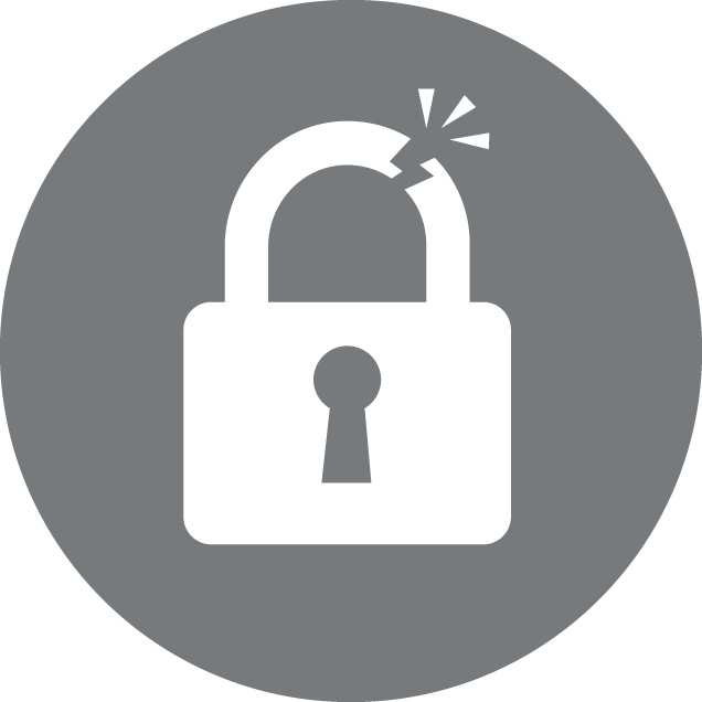 Identity Theft Icon with the image of broken lock in gray background
