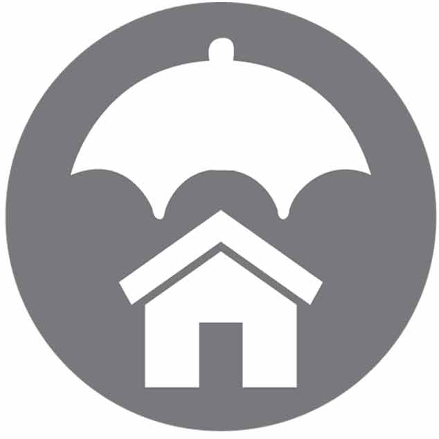 Icon for the property Liability-Home with an umbrella covering it in a gray background-New